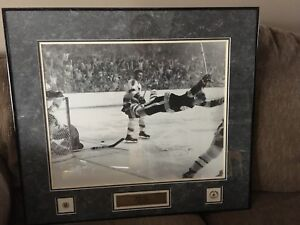 """Framed Autographed 16X20 Bobby Orr """"The Goal""""from Frozen Pond."""