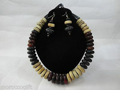 Handcrafted Wooden Artisan African Olive Wood Necklace Earrings Set.