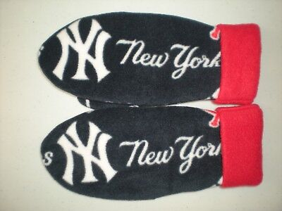 NY YANKEES HANDCRAFTED womens MITTENS MLB fleece winter gloves NEW YORK