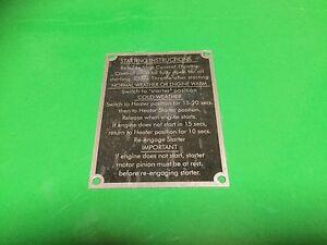 Massey Ferguson Cold Start Instruction Plate For 130,135,148,165,168,175,178