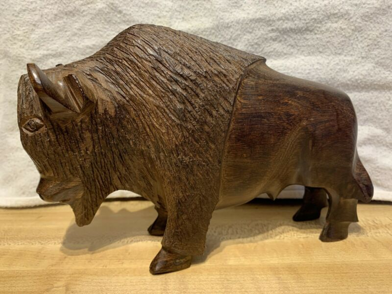 "8"" Beautiful Buffalo Bison Carving Hand Carved IRON WOOD Figurine Great Detail"