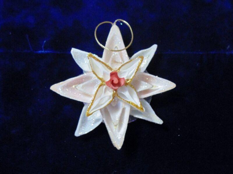 CHRISTMAS REAL CUT STROMBUS SHELL FLOWER STAR ORNAMENT, NAUTICAL BEACH TROPICAL