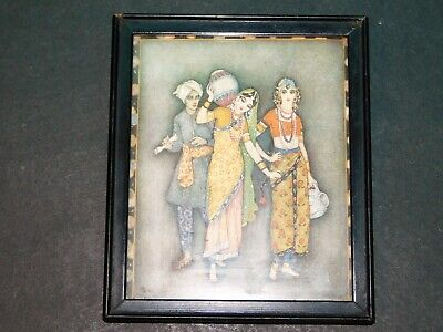 SMALL OLD FRAMED PRINT OF THREE INDIAN FIGURES, ARTIST BOLLA??