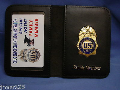 DEA  AGENT LEATHER WALLET W/ MINI BADGE -FAMILY MEMBER  LARGE wallet FOP PBA