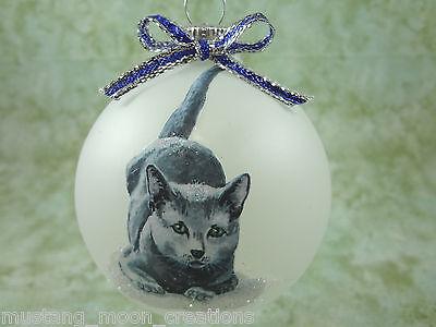 C004 Hand-made Christmas Ornament cat kitten - blue russian smokey gray cute