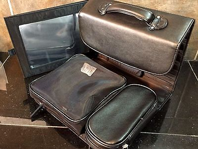 CHRISTIAN DIOR BEAUTY MAKEUP BAG TRAVEL CASE W/MIRROR BLACK FAUX LEATHER LARGE