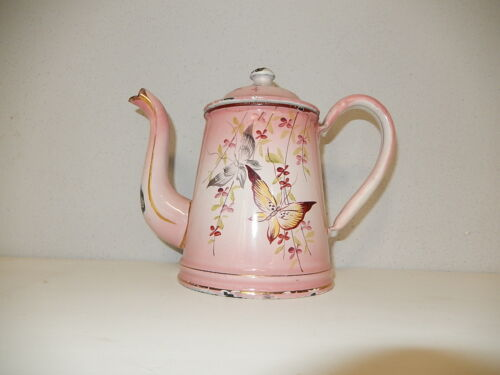 ~c1900 Hand painted Pink Small Butterfly Enamelware Coffee Pot Enamel Rare OLD~