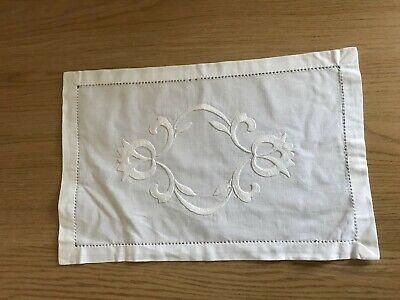 White cotton & embroidery tray cloth