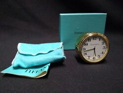 Tiffany & Co Gold Tone 2 Freestanding Mini Desk Clock authentic