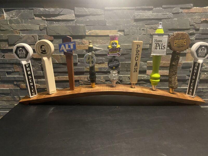 Handmade Oak Barrel Stave 9 Beer Tap Display