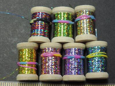 12 Yards 1 Spool Extra Thin Flat HOT PINK Holographic Tinsel Flash Ribbing