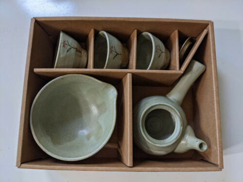NEW Japanese Tea Set with 3 Cups, Bowl, Tea Pot and Lid Pottery Flower Asian