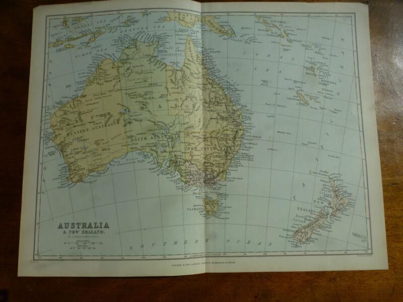 1874 ENGRAVING MAP of AUSTRALIA & NEW ZEALAND by J. BARTHOLOMEW