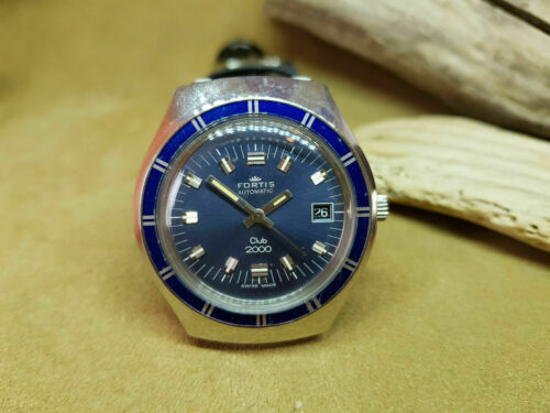 USED VINTAGE FORTIS DIVER CLUB 200 BLUE DIAL DATE AUTO MAN