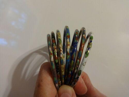 "Set of 7 Cloisonne Floral Enamel Bangle Bracelets Multicolor Approx 7 1/2"""