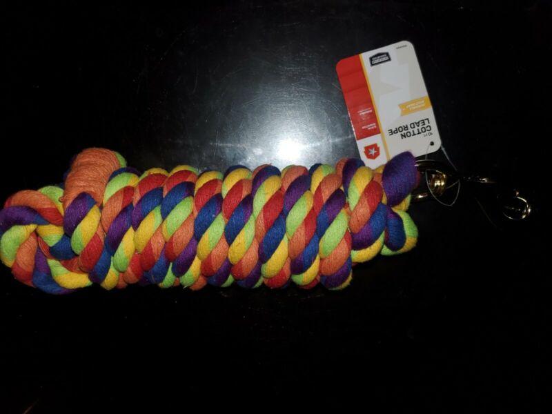 Leash 10 Ft. Cotton Lead Rope Multi colored 5/8 Inch Diameter Heavy Duty
