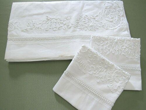 "Antique CORONATION CORD Embroidery Flat Top Sheet Set & 2 Pillowcases 80x86"""