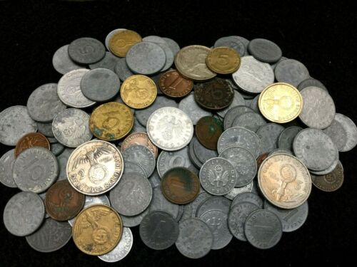 Clearance SALE WW2 Germany War Coin Incl. Silver Collection Lot of SEVEN Coins