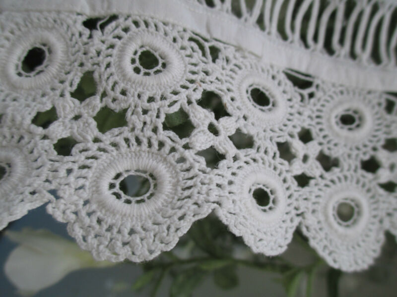 PR Antique hand made  tatteredcrocheted  lace  pillow cases