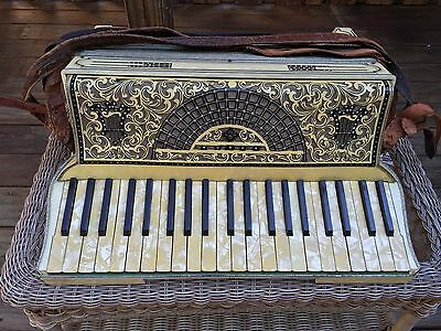 Antique Moreschi & Sons Piano Key Accordion Italiian in Case w/ Two Music Books