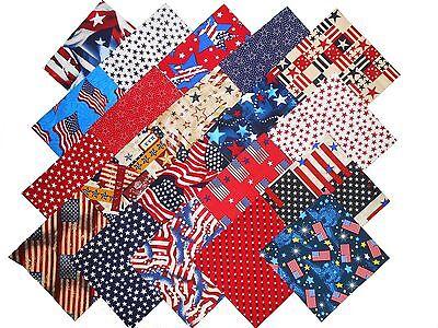 20 10 Patriotic Quilting Fabric Layer Cake Squares Patriotic Prints NEW ITEM 2 - $12.99