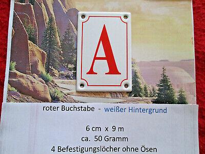Haus-nr. (A  Emaille Haus Nr. Zusatz roter Buchstabe weißer Hintergrund 6cm x 9cm ANr5)