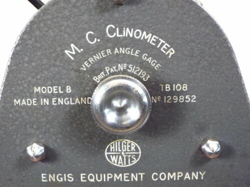 Hilger & Watts TB 108 Model B Vernier Angle Gage, British Clinometer, See Video