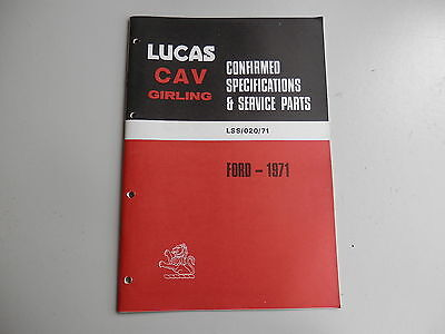 LUCAS Parts List for  FORD cars and commercials 1971