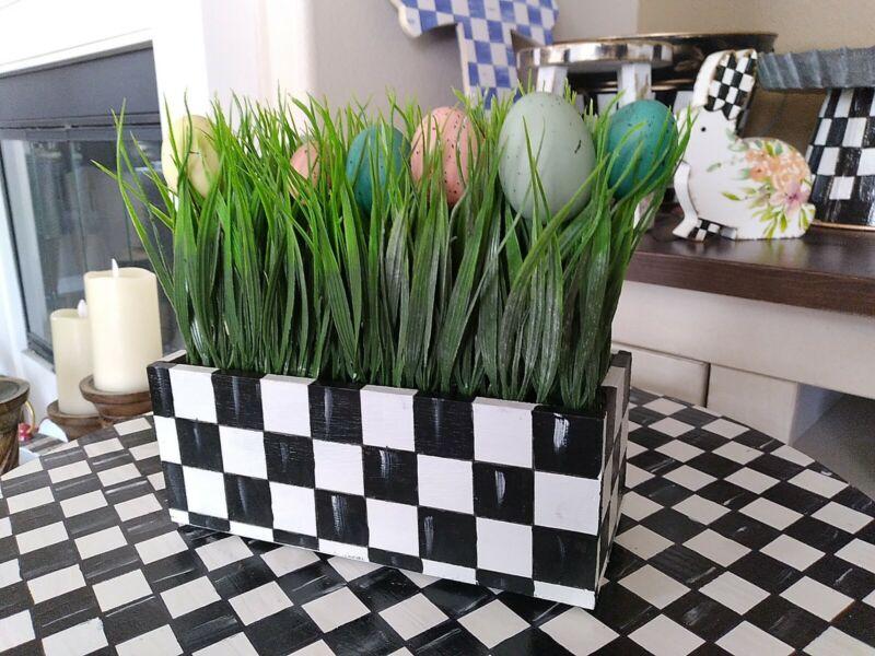 "Mackenzie Childs Inspired Wooden Easter Egg Flower Box Courtly Check 10 X 4"""