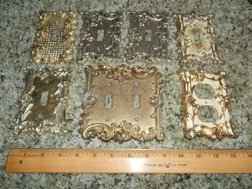 7 Vintage NOS Metal Brass Color Ornate Decorative Receptacle Wall Plate Covers
