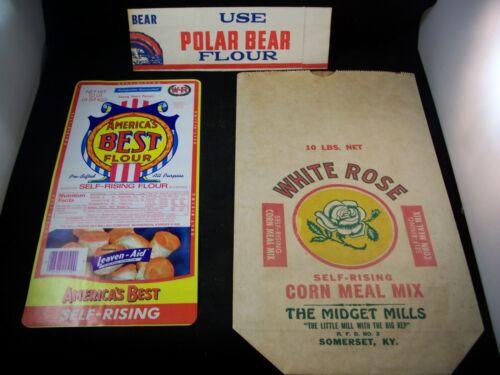 3 VINTAGE FLOUR PAPER PRODUCTS,POLAR BEAR HAT, AMERICAS BEST fLOUR,WHITE ROSE