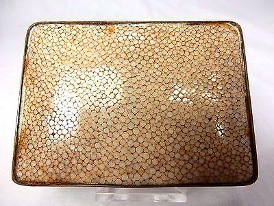 Schöne alte Tabatiere aus Silber ? mit Rochenhaut belegt innen vergoldet + Punze