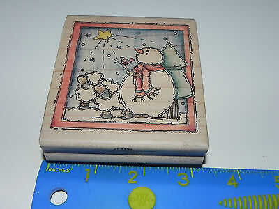 Stampassions Rubber Stamp The Star Shines Bright Susie King Christmas Snowman