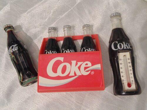 Vtg Lot Coke Bottle Refrigerator Magnets Thermometer Coca Cola Full Mini Bottle