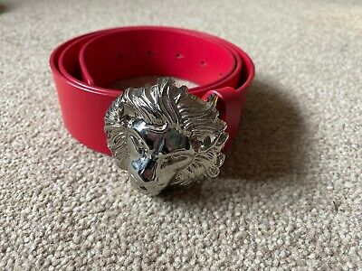Mens Genuine Red And Silver Versus Versace Lion Head Belt Size 36 Good Condition