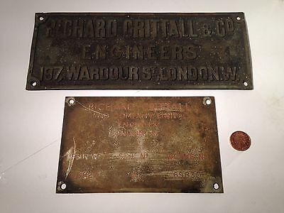Old Metal Bronze Vintage Engineers London Wardoor St  Business Wall Plaques