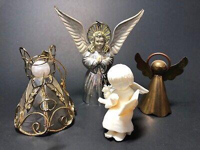 Vintage Angel Christmas Ornament Figurine Lot Plastic Metal - Brass Angel Ornament