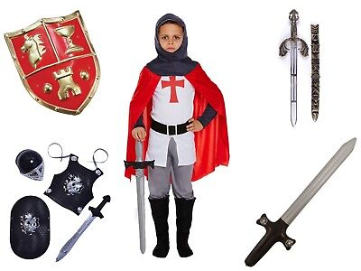 BOYS KIDS MEDIEVAL KNIGHT CAMELOT CRUSADER COSTUME 4-12 YEARS +OPT ACCESSORIES - Knight Costume Accessories