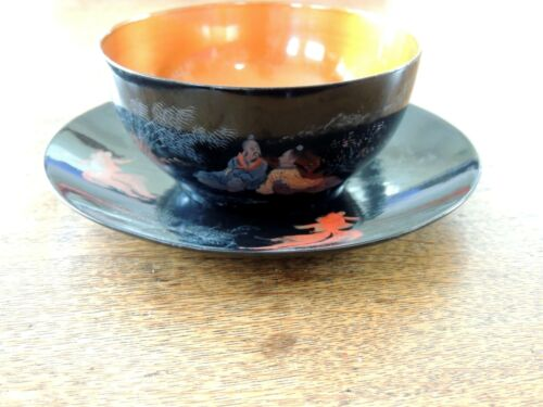 Foochow Lacquer Ware Cup and Saucer Chen Tai Cheng Vintage