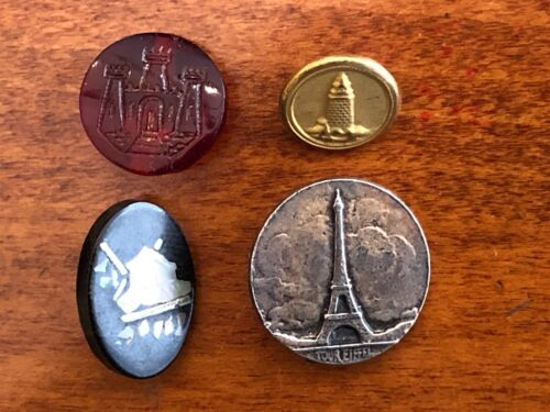 Verbal Lot of 4 Antique Picture Buttons Buildings, Eiffel Tower, Lighthouse