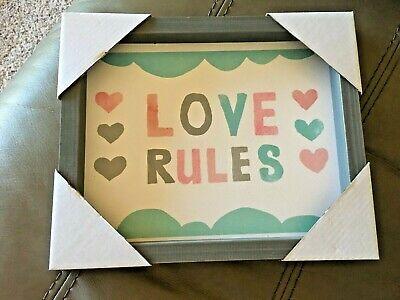 Framed Love Rules Print, Baby Room or Girl Bedroom Decor Brand New Grey - Heart Framed Print