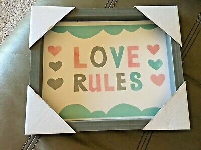 Framed Love Rules Print, Baby Room or Girl Bedroom Decor Brand New Grey Hearts - Heart Framed Print