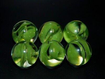 Six Old Vitro Agate Green Aventurine Cats Eye Marbles  M+/- (Aventurine Cats)