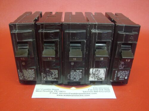 Lot of 5 - 15 Amp Siemens ITE Gould Q115 15A Type QP Circuit Breakers