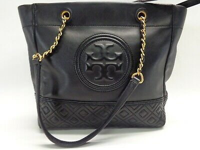 TORY BURCH FLEMING LEATHER TOTE SHOULDER BAG CHAIN BLACK