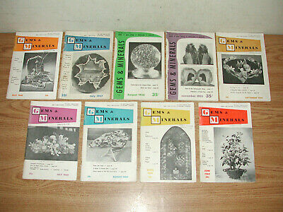 VINTAGE LOT OF 9 GEMS & MINERALS LAPIDARY GUIDE HOBBY MAGAZINES FROM 1955-1960