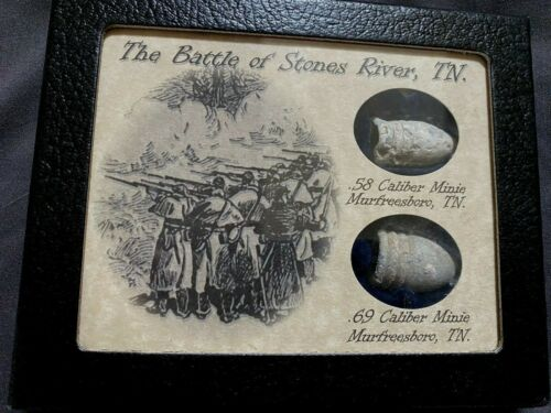 Battle of Stones River, Tennessee~ AUTHENTIC 2 Shot Bullets with Display Case