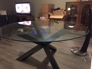 Glass top dining room table.