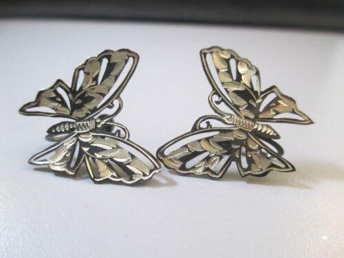 Antique Japan Silver Earrings Butterfly screw backs