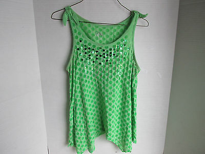 Justice Sequence Lime Green  Sheer Polka Dot Top Blouse, Girls Size 18